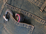 mp3 player in back pocket of jeans poster