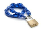 padlock and blue chain poster
