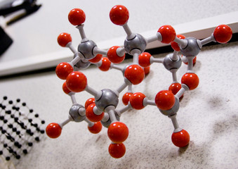 red 3d molecular structure