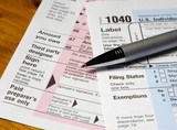 tax forms & pen poster