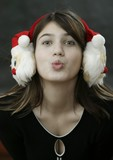 earmuff with santa claus poster
