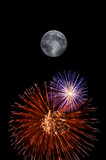 full moon and fireworks poster