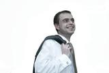 man with jacket over shoulder poster