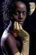 the woman with golden gloves