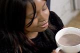 hot chocolate, closed eyes