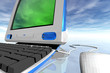 desktop computer and clouds