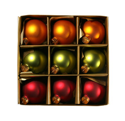 xmas ornaments in a box with path