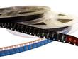 Leinwanddruck Bild - two film reels with blank film strips
