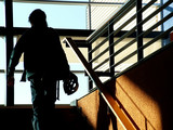silhouette on staircase poster