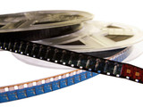 two film reels with blank film strips poster