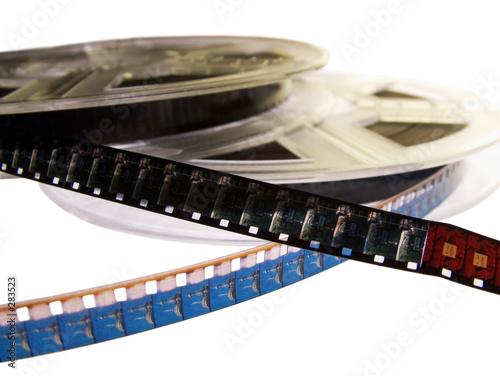 Leinwanddruck Bild two film reels with blank film strips