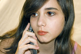 teenage girl on cell phone poster