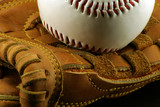 white baseball and leather glove poster