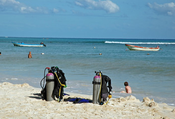 scuba gear on the beach