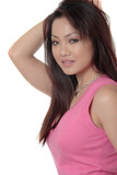 attractive asian woman posing in pink poster