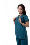 pretty asian nurse with friendly expression poster