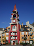 colourful building in mont tremblant, quebec poster