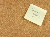 thank you note on corkboard poster