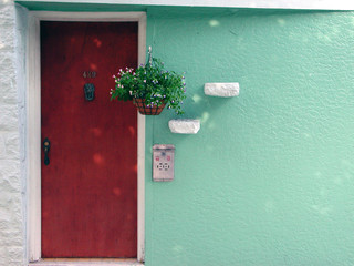 decorated front door of a house