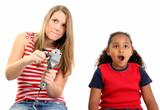 girls playing video game poster