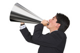 business announcement through loudspeaker poster