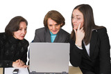 business female team with laptop poster