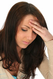 brunette woman with headache poster