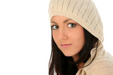 beautiful young woman in hooded sweater poster