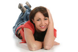 beautiful young woman laying on floor poster