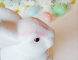 easter bunny delivering colorful easter eggs poster
