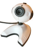 webcam close up, isolated over white poster