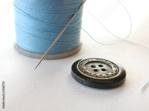 poster of spool of thread with button and needle