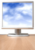 monitor with blue sky poster