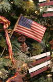 us flag christmas ornament poster