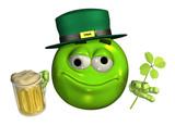 leprechaun emoticon with mug of beer poster