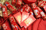 chinese celebration firecrackers and red envelope poster