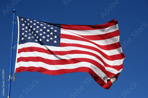 An American flag flaping boldly in the wind. изображение.