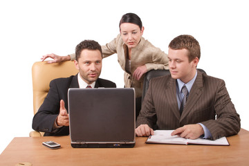 group of 3 business people working together  with