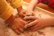 children make cake