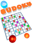 sudoku grid and title in 3d with bubbles