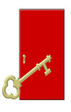 red door with large gold key - future - success poster