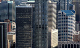 skyscrapers in business district poster