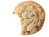 chocolate chip cookie with a bite out poster
