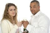 attractive young couple with champagne poster