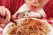 slurping  pasta