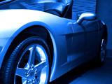 blue tone sportscar poster
