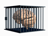 brain trapped in cage. poster