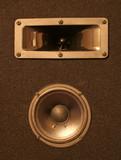 black speaker poster