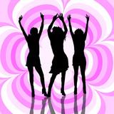 females dancing poster