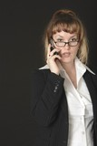business woman on cell phone poster